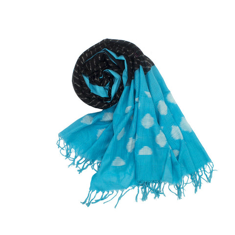 Pochampally Ikkat Cotton Dupatta in Black and sky blue