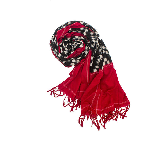 Pochampally Ikkat Cotton Dupatta in Black and Red