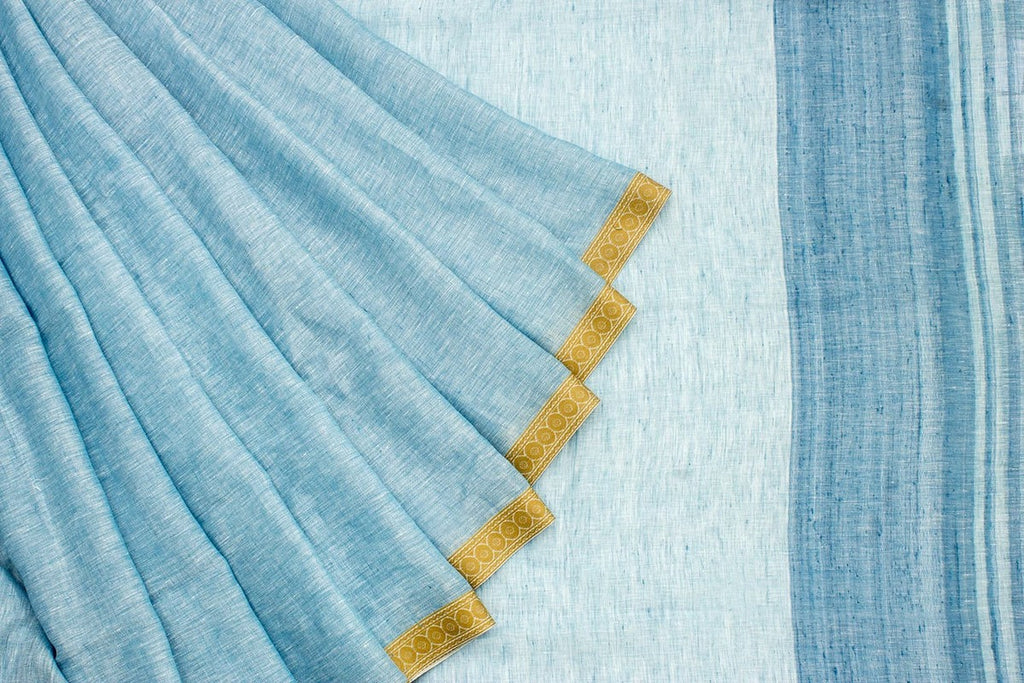 Linen Blue Saree With Plain Body