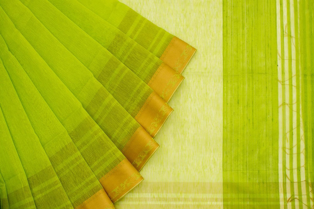 Handwoven Linen Green Saree