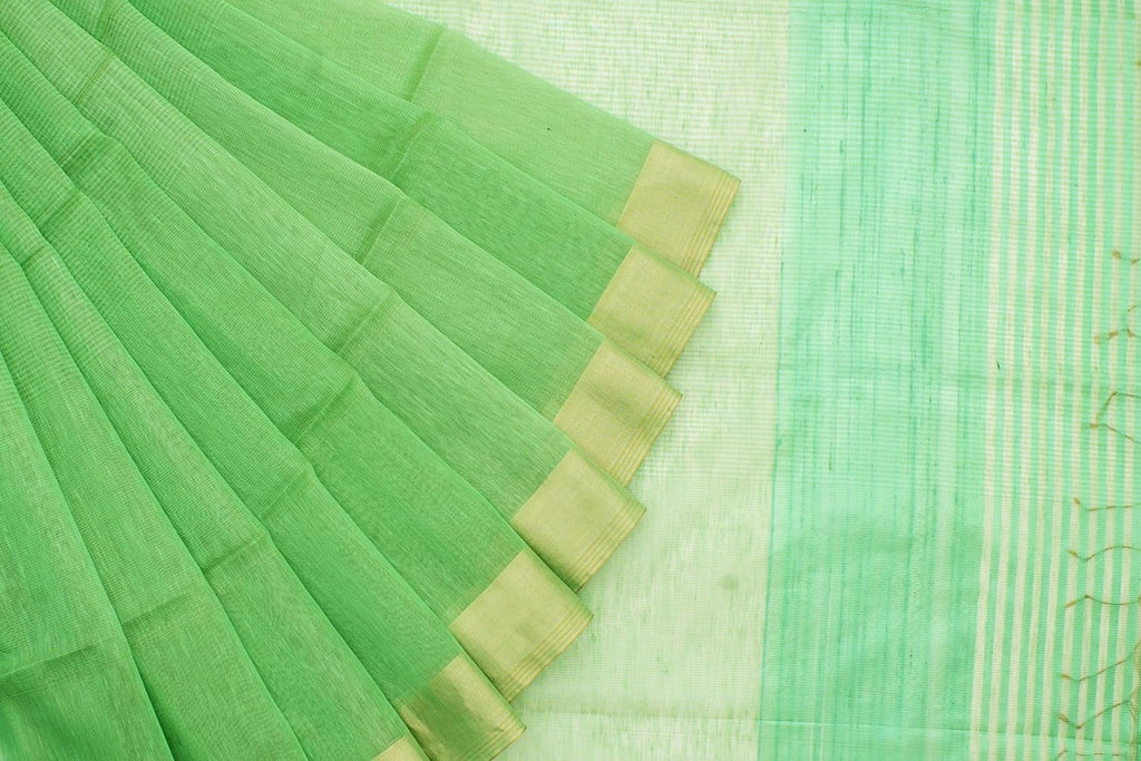 Linen Sea Green Saree With Zari Border