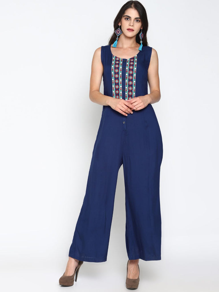 Blue Front Open Jumpsuit With Embroidery