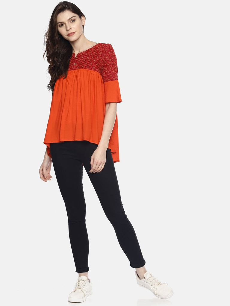 Orange Color Block Gathered Top With Embroidery