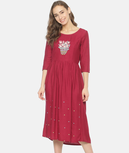 Maroon Gathered Dress With Embroidered Yoke