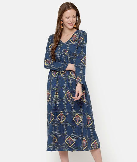 Blue Printed Maxi Dress With Back Tie Ups