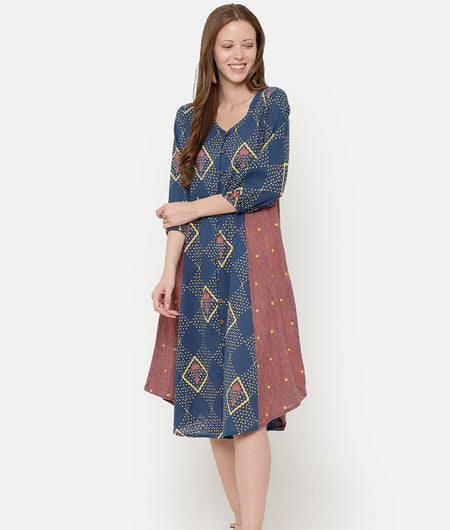 Printed Mix & Match Dress With Front Open Placket