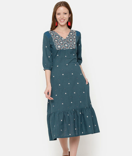 Green Tiered Dress With Printed Yoke