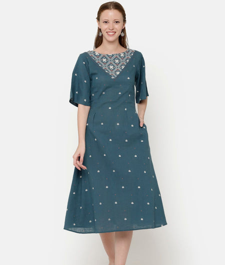 Green Printed Dress With Contrast Yoke