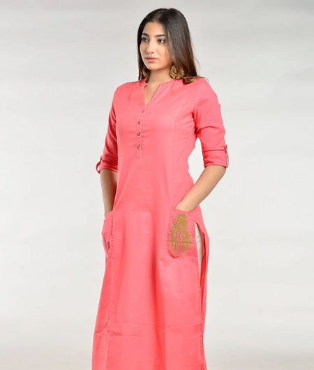 Hand Woven Peach Cotton Flex Kurta