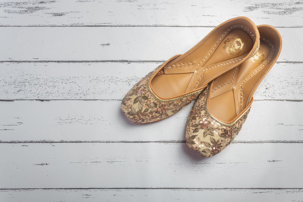 Hand Embroidered,Sequin Beige Juttis
