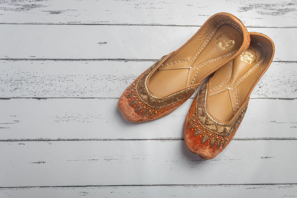 Hand Embroidred Rust Orange Colour Pearl Work Juttis