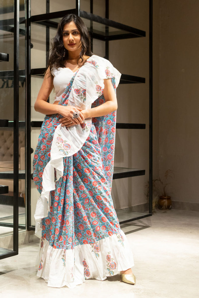 Handcrafted Mul Mul Cotton Hand Print Off White Saree