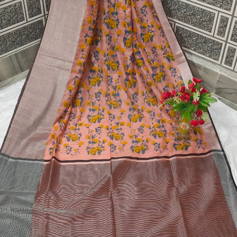 Handloom Tissue Raw Silk Handwoven Pink Saree