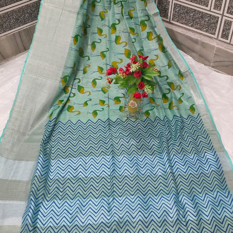 Handloom Tissue Raw Silk Handwoven Blue Saree