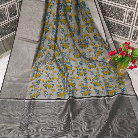 Handloom Tissue Raw Silk Handwoven Grey Saree