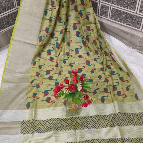 Handloom Tissue Raw Silk Handwoven Green Saree