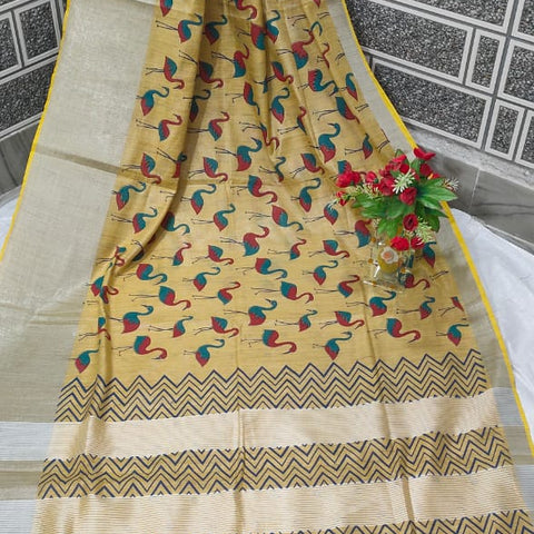 Handloom Tissue Raw Silk Handwoven Yellow Saree