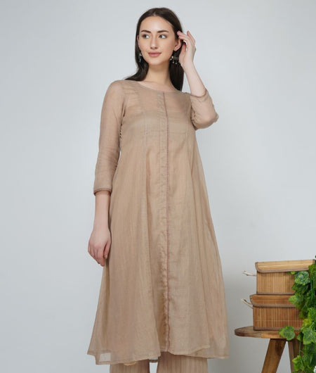 Hand Work Champagne Kota Cotton Flared Kurta