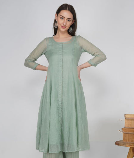 Hand Work Rosemary Green Kota Cotton Flared Kurta
