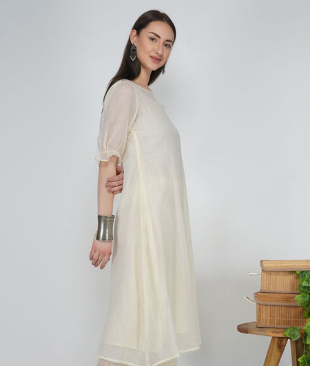 Hand Work Pearl White Kota Cotton Flared Kurta