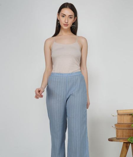 Hand Work Lavender Leno Cotton Pant
