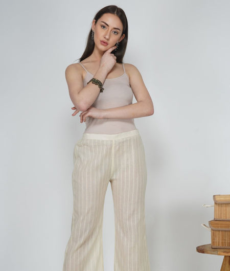 Hand Work Pearl Leno Cotton Pant