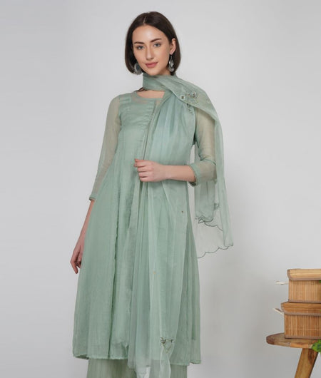 Hand Work Rosemary Green Organza Dupatta