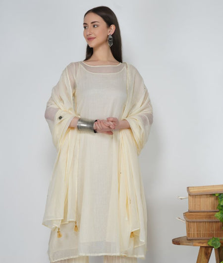 Hand Work Pearl white Kota Cotton Dupatta
