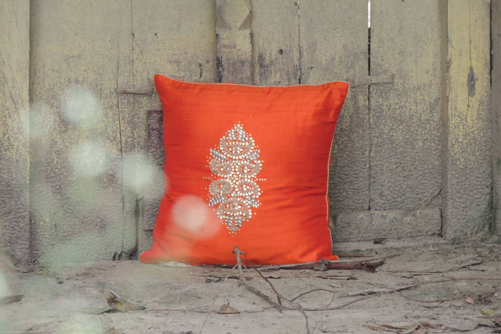 Hand Embroidery Rust Orange Cushion Cover (Set of 2)