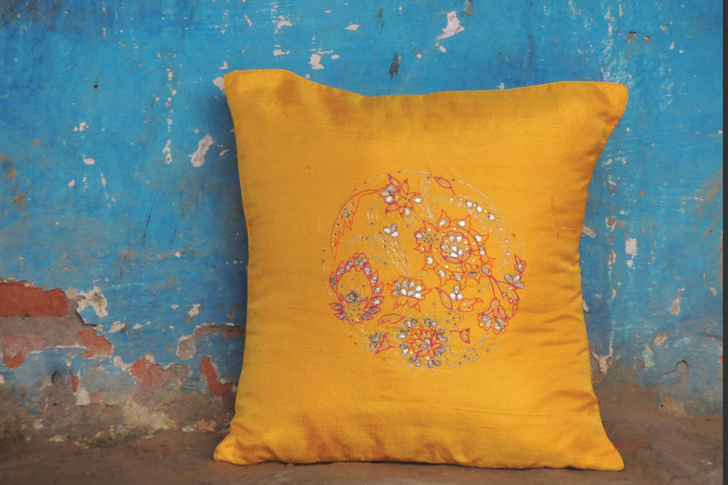 Hand Embroidery Yellow Cushion Cover (Set of 2)