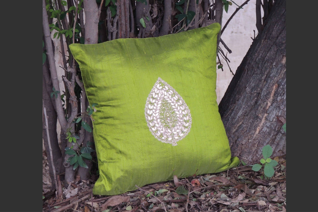 Hand Embroidery Lime Green Cushion Cover (Set of 2)