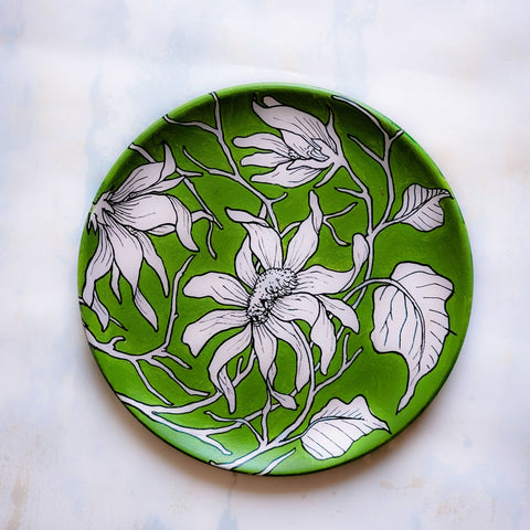 Abstract Floral Green Wall Plate