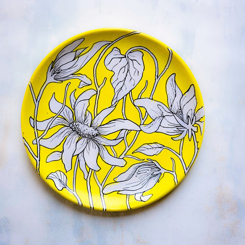 Abstract Floral Yellow Wall Plate