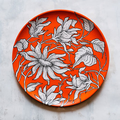 Abstract Floral Orange Wall Plate