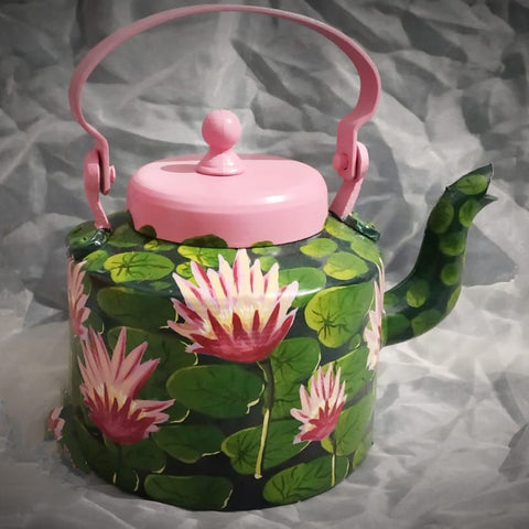 Handpainted Classic Black and Pink Lotus Kettle