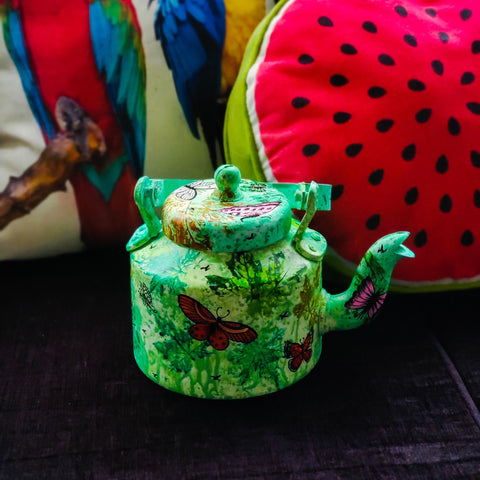 Handpainted Fusion Green Butterfly Teapot
