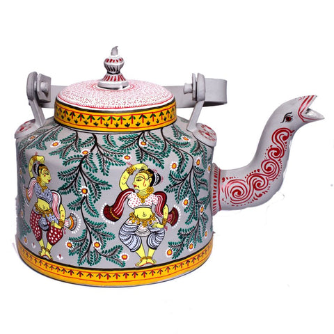 English Grey Pattachitra Indian Dancer Kettle