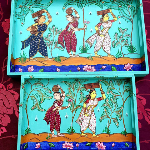 Traditional Village Women Tray Set of 2