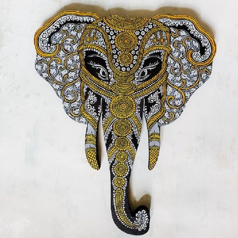 Grey and Gold Elephant Head