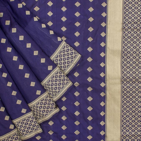 Banarasi Katan silk Katan silk Saree in  Navy Blue