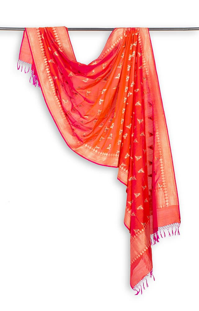 Banarasi Katan silk Cotton Dupatta in  Orange with Parrot motif