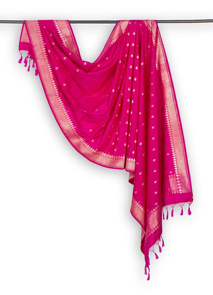 Banarasi Katan silk Cotton Dupatta in Pink with Leaf Butti