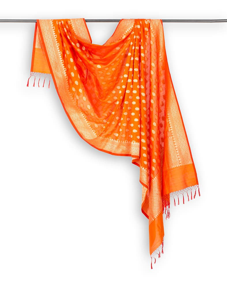 Banarasi Orange Katan silk Cotton Dupatta