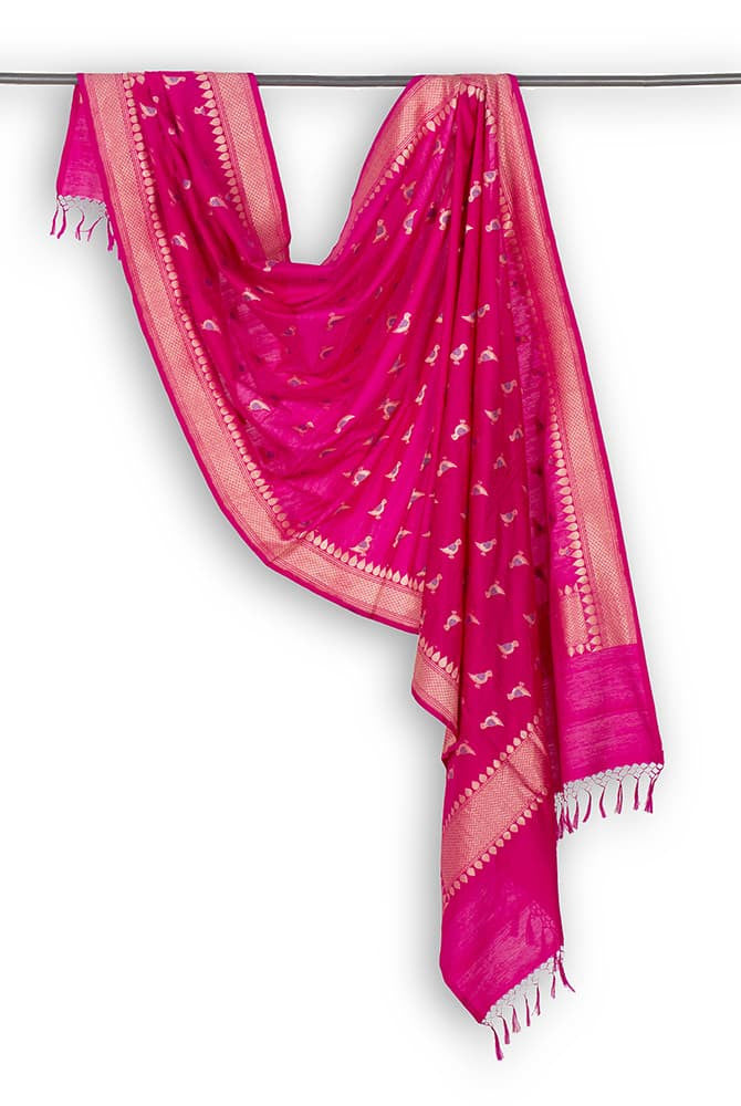 Banarasi Katan silk Cotton Dupatta in  Pink