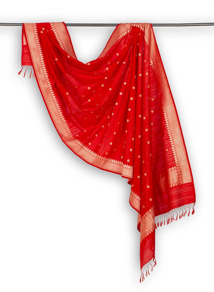 Banarasi Katan silk Cotton Dupatta in  Red