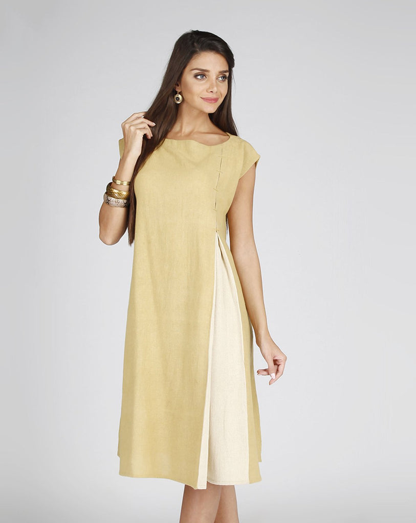 beige Handcrafted Contemporary style A-Line Dress