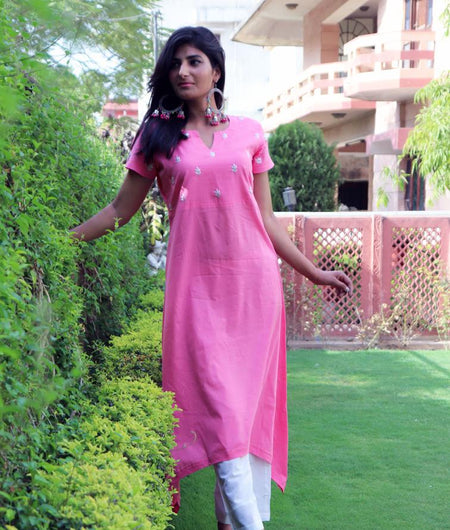 Handwoven Pink Cotton Kurta Pant Set