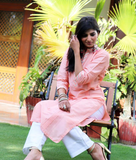 Handwoven Peach Cotton Silk Kurta Pant Set