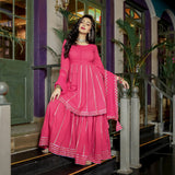 Solid Pink Cotton Kurta Sharara Dupatta Set