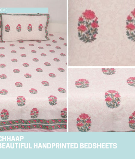 Multicolor White and Green Handblock Printed Cotton Double Bedcover with Pillow Covers (Set of 3)